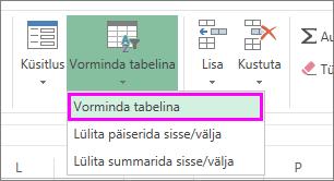 Nupp andmete vormindamiseks tabelina