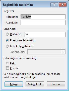 Dialoogiboks Registrikirje märkimine