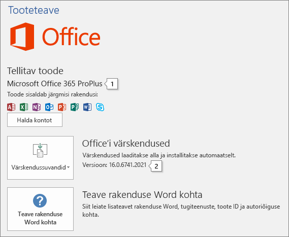 """Kuvatõmmis Office'i tootenimega ja täieliku versiooninumbriga lehest """"Konto""""."""