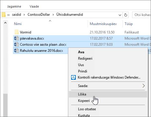 Paremklõpsake ja valige faili liikumiseks nupp Lõika