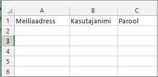 Lahtri pealkirjad Exceli migreerimisfailis.