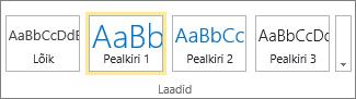 Kuvatõmmis laadid SharePoint Online'i lindil koos valitud laadi Pealkiri 1.