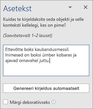 Word for Windowsi dialoogiboks Asetekst
