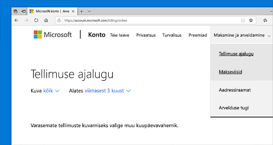 Microsofti konto tellimuste ajaloo vaatamine