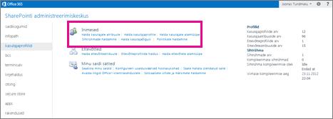 SharePoint Online'i administreerimiskeskuse kuvatõmmis; valitud on kasutajaprofiilide leht.
