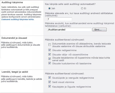 Auditeerimissätete konfigureerimise leht