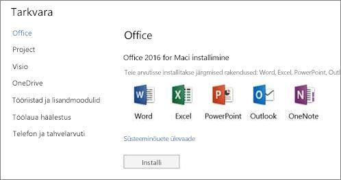 Office 365 sätted ja tarkvara installimise kuva Mac-arvutis