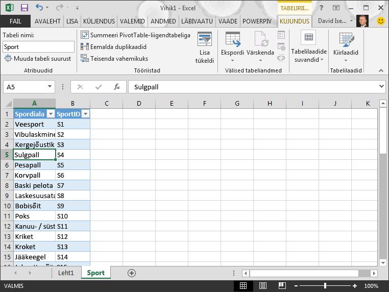 Tabeli nime muutmine Excelis