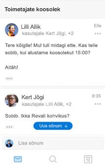 Uuenenud vestlusfunktsioon iOS-ile mõeldud Outlookis