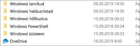 Kuvatõmmis, kus on näidatud OneDrive'i rakendus File Exploreris.