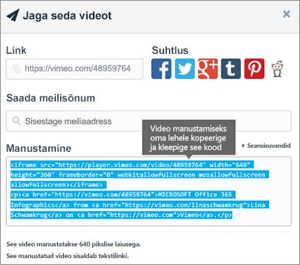 Kasutamise näide manustamiskood manustamiseks SharePointi lehe sisu