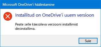 OneDrive'i tõrge hüpikakende