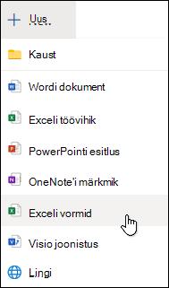 Excelisse vormi lisamise valik Excel Online'is