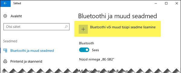 Bluetooth-seadme lisamine
