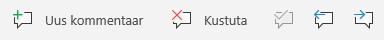 Windows Mobile'i kommentaaride nupud: Loo uus kommentaar, Kustuta praegune kommentaar, Mine eelmisele kommentaarile ja Mine järgmisele kommentaarile