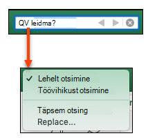 Kui otsinguriba on aktiveeritud, klõpsake dialoogiboksi veel otsingu suvandid aktiveerimiseks suurendusklaasi klaasi.