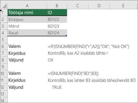 Näide kasutamine kui, ISNUMBER ja Otsi funktsioone kontrollida, kas osa lahtrist kattub kindla tekstiga