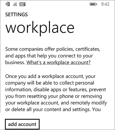 Add workplace account on Windows Phone