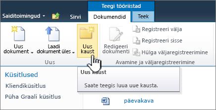 SharePoint 2010 dokumentide menüü, kus on esile tõstetud nupp Uus kaust