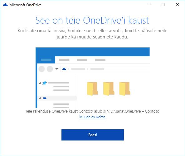 """Viisardi """"Tere tulemast OneDrive'i"""" kuva """"See on teie OneDrive'i kaust"""" kuvatõmmis"""