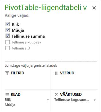 PivotTable-liigendtabeli väljaloend