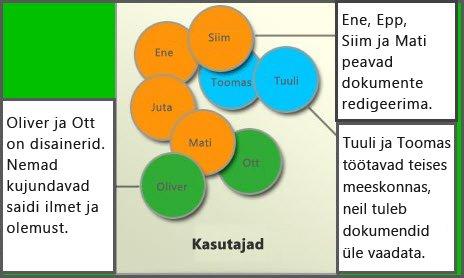 Erinevate kasutajarühmade skeem: Liikmed, saidikujundajad ja külastajad