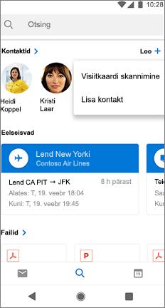 Otsingu ekraani skannimine visiitkaardi võimalus kontakti nime kõrval.