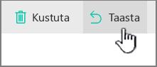 SharePoint Online, kus on esile tõstetud nupp Taasta