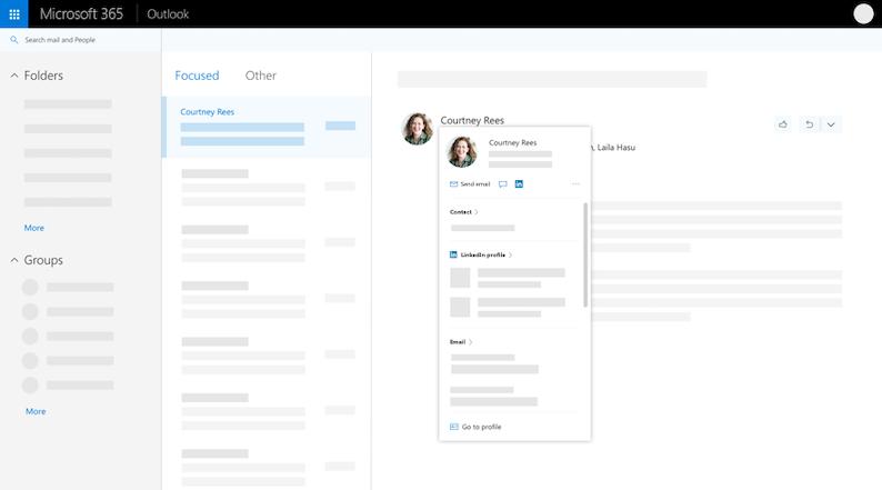 Kasutajaprofiili kaart Outlooki veebirakenduses – laiendatud vaates