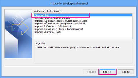 Outlook Export Wizard - Export to a file