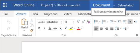 Word Online'is dokumendi nime muutmiseks tiitliriba klõpsamine