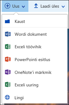 Office 365: uue kausta või dokumendi loomine