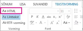 HTML-vormingu suvand sõnumi menüüs Tekstivorming