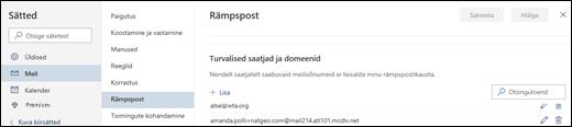 Outlook.com-i loendi Sätted jaotise Meil alamjaotise Rämpspost alamjaotise Turvalised saatjad kuvatõmmis.