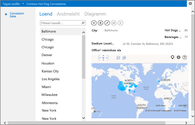 Office'i Bingi kaartide rakendus Accessi rakenduses