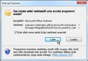 Dialoogiboks Veebisaidil programmi avamine lubamine