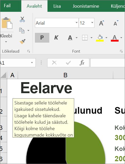 Sisseehitatud juhiseid kuvava Exceli kasutajaliidese ekraani klipp