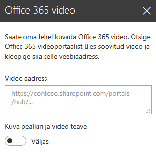 SharePointi Office 365 videoportaali video aadressi dialoogiboksi kuvatõmmis.