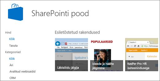 Vaade SharePointi poe valikust