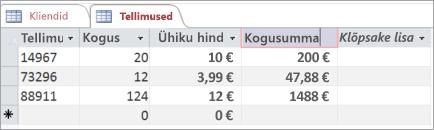 Accessi tabeliväljade välja nimetamine