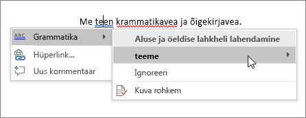 Office 365 õigekirja- ja grammatikakontrolli näide