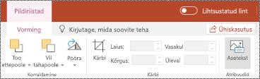 Teksti muuteklahvi lindil pilt rakenduses PowerPoint Online.