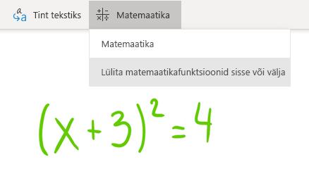 Windows 10 rakenduses OneNote for Windows 10 nupp matemaatika nupp