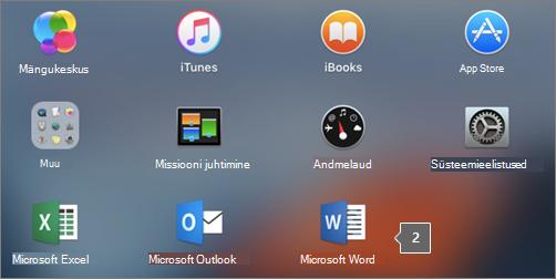 Kuvab Launchpadi osalises vaates Microsoft Wordi ikooni