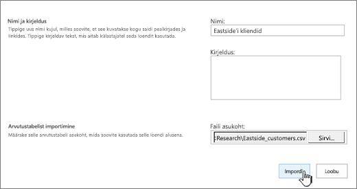 """Uue rakenduse dialoogiboks, kuhu on sisestatud nimi ja faili asukoht ning kus on esile tõstetud nupp """"Impordi""""."""