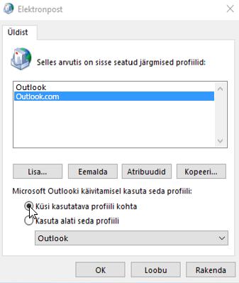 Outlooki profiilivälja kuvatõmmis