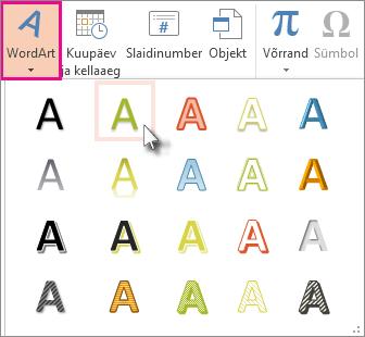 WordArt-objektide laadid