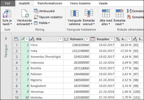 Toomise ja teisendamise võimalused tabelist importimiseks