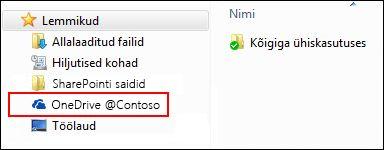 Sünkroonitud OneDrive for Businessi teek Windowsi lemmikute loendis