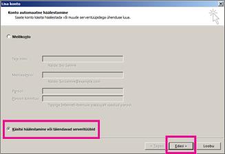 Käsitsi häälestuse kasutamine rakenduses Outlook 2013